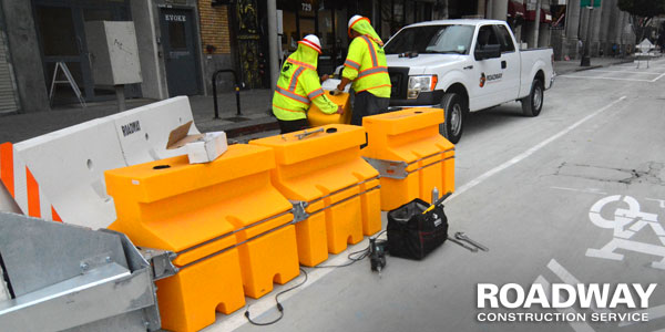 Water Filled Barricade Installation
